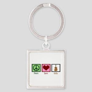 Peace Love Cello Square Keychain