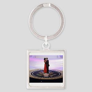 Michelle Barack Obama Square Keychain