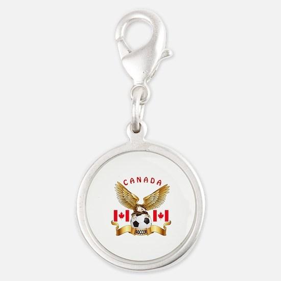 Canada Football Design Silver Round Charm