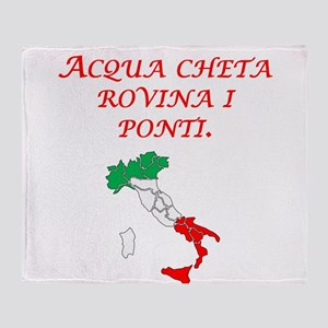 Italian Proverb Silent Waters Throw Blanket