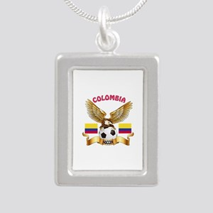 Colombia Football Design Silver Portrait Necklace