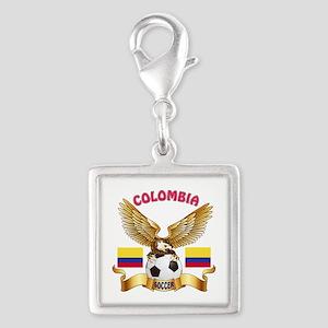 Colombia Football Design Silver Square Charm