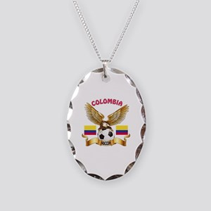 Colombia Football Design Necklace Oval Charm