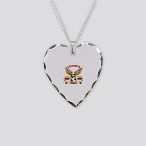 Colombia Football Design Necklace Heart Charm