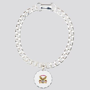 Colombia Football Design Charm Bracelet, One Charm