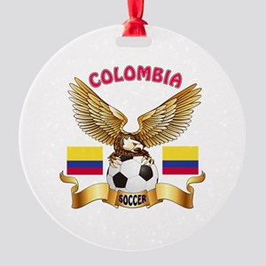 Colombia Football Design Round Ornament