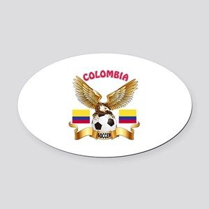 Colombia Football Design Oval Car Magnet