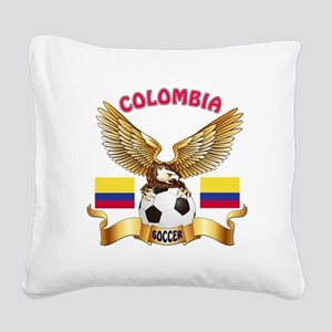 Colombia Football Design Square Canvas Pillow