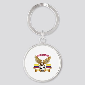 Colombia Football Design Round Keychain