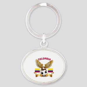 Colombia Football Design Oval Keychain