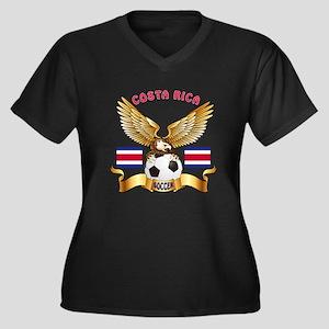 Costa Rica Football Design Women's Plus Size V-Nec
