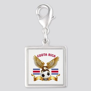 Costa Rica Football Design Silver Square Charm