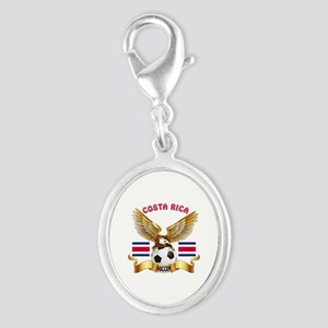 Costa Rica Football Design Silver Oval Charm
