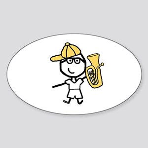 Baritone - Glasses Boy Oval Sticker