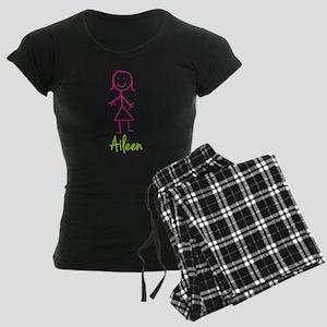 Aileen-cute-stick-girl Women's Dark Pajamas