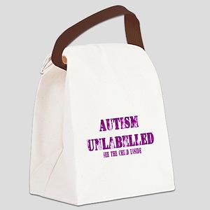 Autism Unlabelled Purple Canvas Lunch Bag