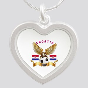 Croatia Football Design Silver Heart Necklace