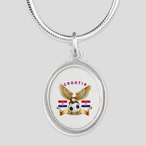 Croatia Football Design Silver Oval Necklace