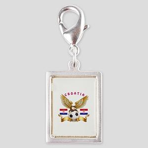 Croatia Football Design Silver Portrait Charm