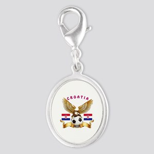 Croatia Football Design Silver Oval Charm