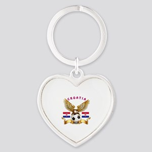 Croatia Football Design Heart Keychain