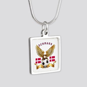 Denmark Football Design Silver Square Necklace