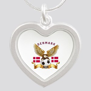 Denmark Football Design Silver Heart Necklace
