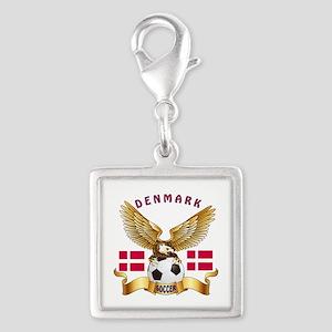 Denmark Football Design Silver Square Charm