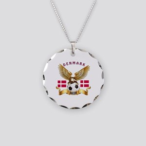 Denmark Football Design Necklace Circle Charm