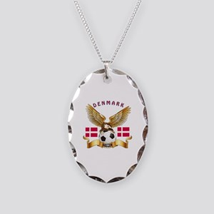 Denmark Football Design Necklace Oval Charm