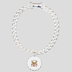 Denmark Football Design Charm Bracelet, One Charm
