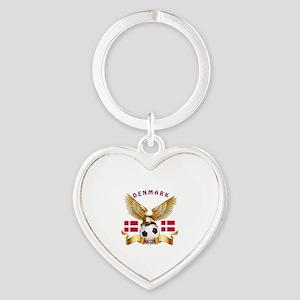 Denmark Football Design Heart Keychain