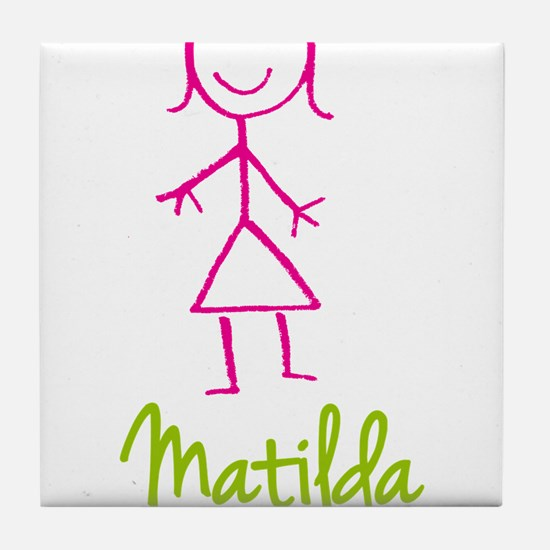 Matilda-cute-stick-girl.png Tile Coaster