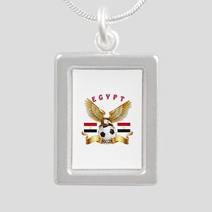Egypt Football Design Silver Portrait Necklace