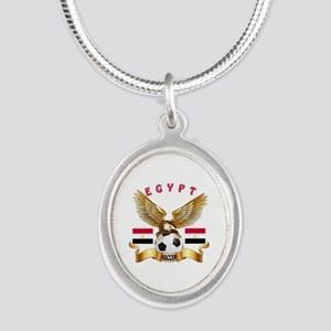Egypt Football Design Silver Oval Necklace