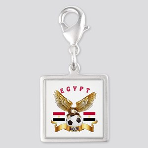 Egypt Football Design Silver Square Charm