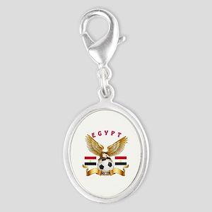 Egypt Football Design Silver Oval Charm