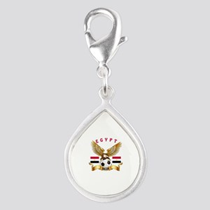 Egypt Football Design Silver Teardrop Charm
