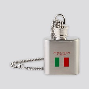 Italian Proverb Finger In The Pie Flask Necklace