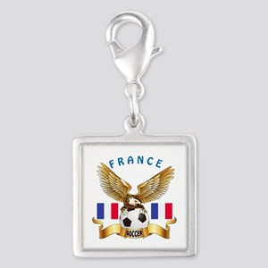 France Football Design Silver Square Charm