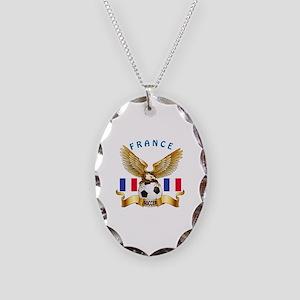 France Football Design Necklace Oval Charm