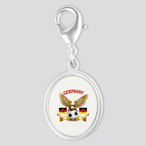 Germany Football Design Silver Oval Charm