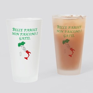 Italian Proverb Fine Words Drinking Glass