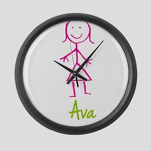 Ava-cute-stick-girl Large Wall Clock