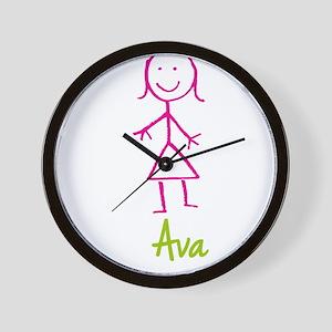 Ava-cute-stick-girl Wall Clock