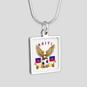 Haiti Football Design Silver Square Necklace
