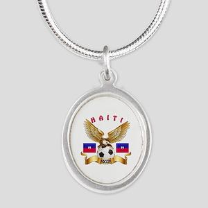 Haiti Football Design Silver Oval Necklace