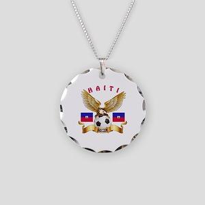 Haiti Football Design Necklace Circle Charm