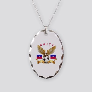 Haiti Football Design Necklace Oval Charm