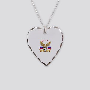 Haiti Football Design Necklace Heart Charm